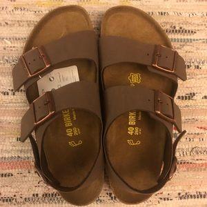 NWT Birkenstock Birkibuc Sandals Mocha 40/9-9.5